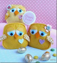 felt chick for Easter; Sizzix Big Shot, fustella gufo, pulcino in feltro