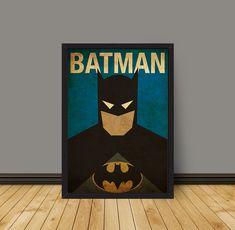 Vintage Minimalist Batman Poster A3 Prints by MyGeekPosters, $20.00