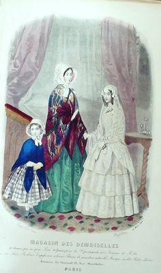 März 1848  +++++++++  GRAVURE de MODE AUTHENTIQUE-F186-MAGASIN DEMOISELLES-HABITS SOLENNELS-1849