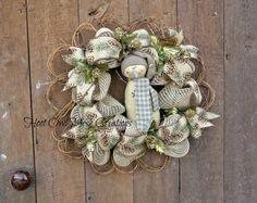 Snowman Wreath, Grapevine Wreath, Winter Grapevine Wreath by HootOwlMeshCreations on Etsy