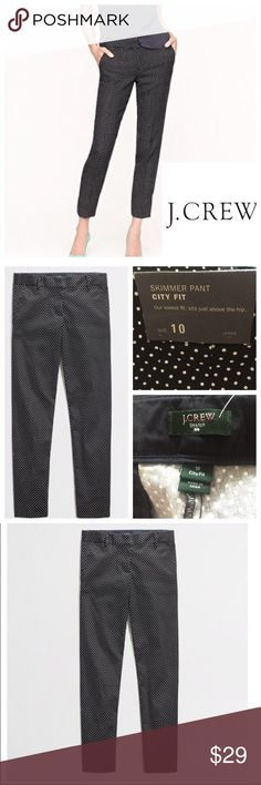 NWT J. Crew City Slim Skimmer Pant. Size 10 NWT J. Crew City Slim Skimmer Pant. Size 10.  J. Crew Stretch pants. Ankle length.   Black and white polka dot.  98% cotton, 2% spandex. Holiday 2013. Style 69412. J. Crew Pants Ankle & Cropped