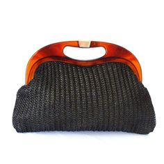 Great black bag for summer - Vintage Black Raffia Tortoise Clutch by EBFinds on Etsy, $19.99
