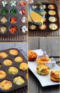 ONTBIJTIDEE ZONDAGMORGEN Meng 7 eitjes met 2 eetlepels melk en zout/peper. Bij ons vult iedereen zijn/haar eigen muffinbakje met groente, kaas, spekjes, kip, ham etc. Giet het eimengsel erover. 15-20 min op 180 graden in de oven. Lekker smullen