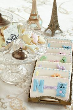 Petite Frosted Cookies. Sweet morsels for the baby shower celebration.