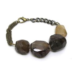 Brown Onyx Faceted and Large Beads Bronze Chain Bracelet with