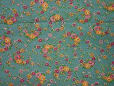 "Wonderful Vintage Full Feedsack, Fabric, Teak Background,Sm.Floral, 36 1/2 x 43"""