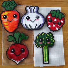 Kawaii veggies/fruit hama beads by mariefagerberg                                                                                                                                                                                 More