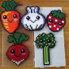 Kawaii veggies/fruit hama beads by mariefagerberg More
