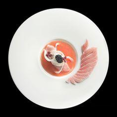 Toro, burrata, caviar, and fennel by chef Masahiro Isono restaurant Iggy's from Singapore #TheArtOfPlating