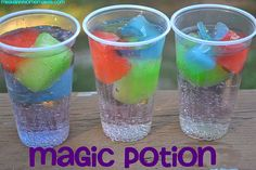 Kool Aid ice cubes, lemon lime soda. As they melt, the drink changes flavor. What a great idea for a kids' party!