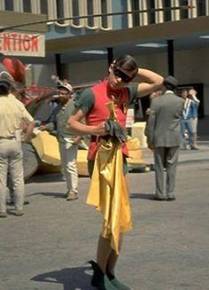 'Burt Ward' as 'Robin' between takes on 'Batman TV Series' Real Batman, Batman Tv Show, Batman Tv Series, Batman And Superman, Batman Comics, Batman Robin, Dc Comics, James Gordon, Adam West Batman