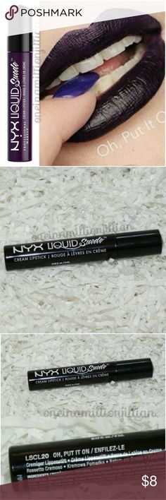 NYX Liquid Suede Lipstick - Oh Put It On New - Never Used (Swatches from Google)  Full Sz & Authentic  Color: Oh, Put It On (deep purple)  Doll up your lips in plush & vibrant color! NYX Cosmetics' Liquid Suede Cream Lipstick glides on & sets into a striking matte finish. Velvety soft & waterproof, this long-lasting lippie creates a positively polished look with every swipe.  Don't forget to check out the rest of my page for more great items & discounts. #oneinamillionjillian NYX Makeup…