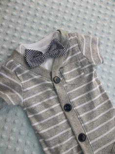 Cardigan Onesie  Gingham  Bowtie Onesie  Baby Boy So Handsome, $32.00