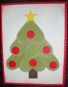 Super easy Christmas card...or leave the ornaments off and add more white to the tree for a winter card.