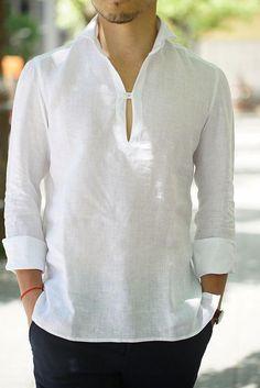 54204de031 A Camisa mais pedida do Verão  Linho! Camisa Sem Gola