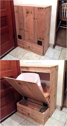 Placing the basket or trash bin uncovered doesn't look attractive, so it is better to cover it with any unique idea. Here is shown repurposed wood pallet trash and storage idea, which not only helps in covering the trash bin; but also allows space to store the items.