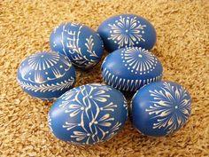 kraslice slepičí - voskový reliéf - modrá - azdekor
