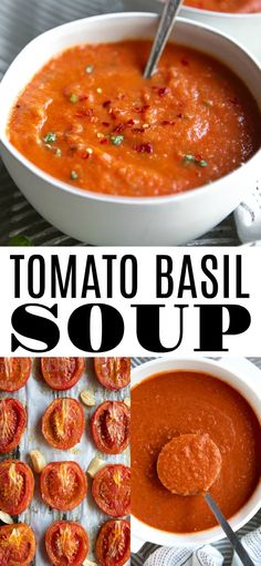 Tomato Basil Soup Recipe, Homemade Tomato Basil Soup Recipe, Homemade Tomato Basil Soup Recipe, This Roasted Tomato Soup is made with simple pantry items along with juicy ripe tomatoes and fresh basil, then blended into a creamy flavorful homemade soup Homemade Tomato Basil Soup, Roasted Tomato Soup, Tomato Soup Recipes, Homemade Soup, Healthy Soup Recipes, Roasted Tomatoes, Gourmet Recipes, Vegetarian Recipes, Cooking Recipes