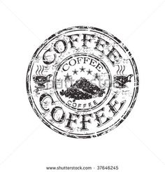 Black grunge rubber stamp with two coffee cups, coffee beans and the word coffee written inside the stamp