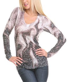Look what I found on #zulily! Charcoal Flame Burnout Sublimation V-Neck Long-Sleeve Tee #zulilyfinds