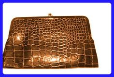 Brown Large Kiss Lock Double Frame Wallet Glossy Crocodile Texture (Brown) - Wallets (*Amazon Partner-Link)