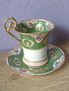Antique vintage French porcelain green tea cup and saucer set! by yvette