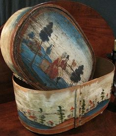 German Bride Box or Span Schachtel - Schachtel means box and Span means wood shavings..