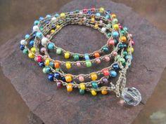 Crochet Jewelry Pattern Crochet Wrap by GlowCreekPatterns Bohemian Jewelry, Diy Jewelry, Beaded Jewelry, Jewelry Bracelets, Jewelry Making, Beaded Necklaces, Crochet Beaded Necklace, Bead Crochet, Crochet Wraps