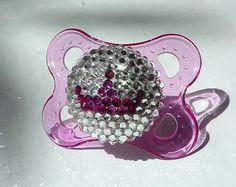 Mam SWAROVSKI PRINCESS Pacifier Tiara Rhinestone PINK Baby Girl Bling Crystal Gem Jewel Binky Soother Dummy 0-6m Shower Gift on Etsy, $25.00