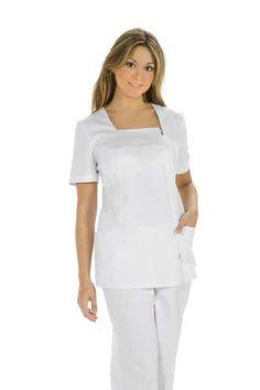 Sanidad, chaqueta sanitaria, vestuario laboral, ropa de trabajo, ropa profesional www.dyneke.com Scrubs, Peplum Dress, Vogue, Dresses, Fashion, Templates, Medical Scrubs, Nurse Uniforms, Professional Attire