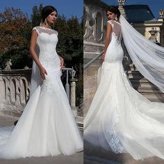 Sexy Sheer Back Mermaid Lace Applique Wedding Dress Bridal Gown 4 6 8 10 12 14 +