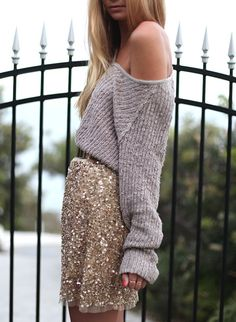 slouchy sweater + sequin skirt