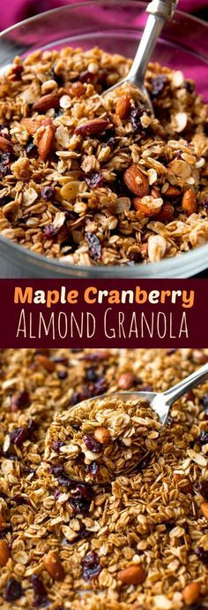 Easy crunchy homemade maple granola with coconut oil, dried cranberries, almonds, and lots of delicious cinnamon spice! Healthy recipe on http://sallysbakingaddiction.com