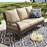 Better Homes and Gardens Colebrook Outdoor Sofa, Seats 3 -tan   All-weather wicker sofa Cushions included Sturdy steel frames Sofa supports 3 people or up to 600 lbs Sofa measures: 33.83″L x 81.10″W x 35.43″H Sofa frame dimensions: seat depth 23.62″ x seat height...