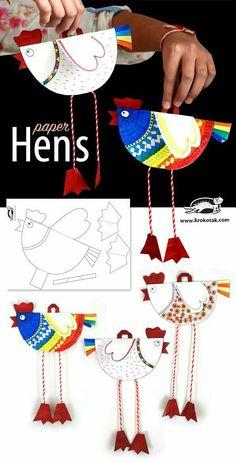 Paper hens with printable // Gallinas de papel con imprimible #printable #paper #hen