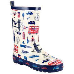 Buy John Lewis London Scene Wellington Boots, Cream/Blue Online at johnlewis.com