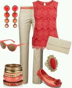 nude beige pants; orange blouse; orange shoes