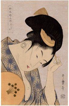 Lot 00161 N.1 ukiyo-e woodblock print  Kitagawa Utamaro  AN OBVIOUS LOVE  Period: 20's Condition: good Size: 25 x 39 cm