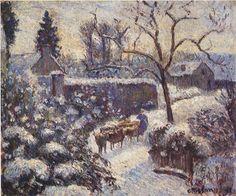 """Camille Pissarro (1830-1903) ~ """"Montfoucault, Effet de Neige"""", 1891 ~ Huile sur Toile ~ Collection Privée"""