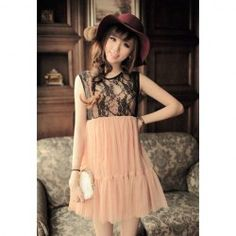 $10.09 Vintage Lace Splice Sleeveless Summer Voile Bubble Dress For Women