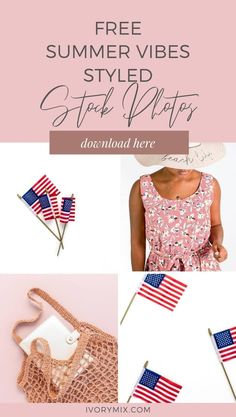 Free summer styled stock photos from Ivory Mix - Includes pale and blush pinks, fourth of july, and more. These images are perfect for Instagram and Pinterest Marketing as well as royalty free use on your blog and website.