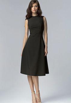 Robe élégante noire femme sans manches ajustée évasée S62 Nife 34 36 38 40  42 59f79669c386