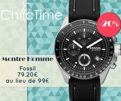 Un look sobre en été ? Pourquoi pas ! Avec cette montre Fossil à 79.20€ au lieu de 99€, c'est la bonne occasion de changer de style !  Lien vers la fiche produit: https://www.chic-time.fr/montres-homme/8034-montre-homme-sport-fossil-ch2573--4048803349045.html