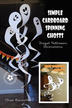 Cardboard Spinning Ghosts tutorial and free printable from OneCreativeMommy.com