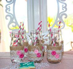 Botellitas decoradas para Fiesta del té