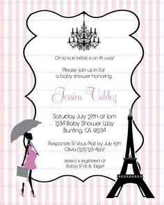 Paris Themed Baby Shower Invites Stripes by JDBDesigns916 on Etsy, $10.00