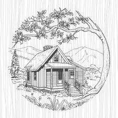art projects Cabin SVG Cabin in the woods SVG File for CricutMountain SVG Antique Picture Frames, Antique Pictures, Wood Burning Patterns, Wood Burning Art, Victorian House Plans, Victorian Homes, Barn Drawing, Wooden Cabins, Landscape Drawings