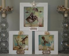 One of a kind handmade sea life specimen boxes.  A little bit Shabby Chic.  $85 apiece or as a set.