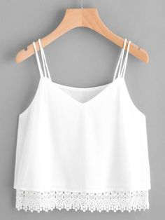 romantic white crop top, white tank top with crochet bottom, white tank with spaghetti straps, summer tops - Lyfie