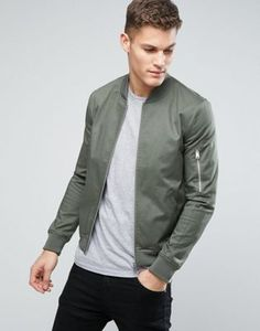 ASOS Muscle Fit Bomber Jacket With Sleeve Zip in Khaki